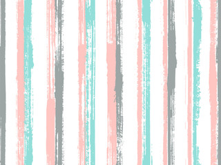 Watercolor brush stroke grunge stripes vector seamless pattern. Elegant maritime shirt textile
