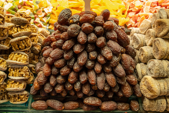 Date fruit ( hurma ). Delicious and sweet snack for sale in spice bazaar. Traditional and exotic food. Special food for ramadan.