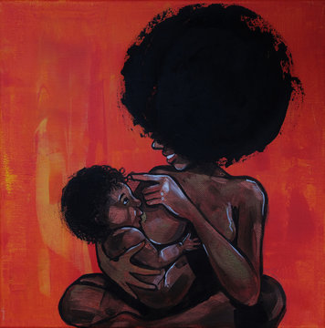 breastfeeding, african wooman with newborn