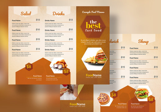 Golden Food Menu Trifold Layout with Hexagon