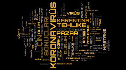 Wall Murals Newspapers Coronavirus orange word cloud on turkish language concept illustration