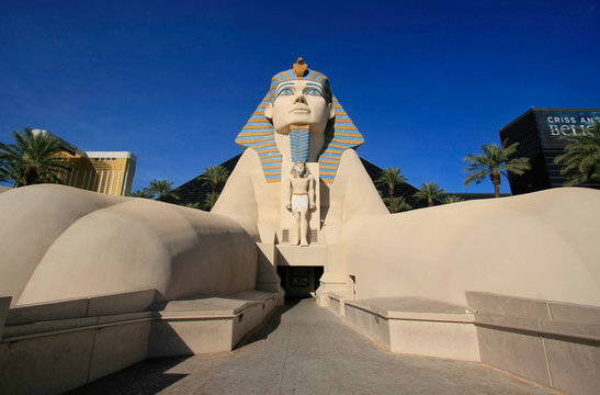 LAS VEGAS, USA - MARCH 19: Replica of Great Sphinx of Giza at Luxor hotel and casino on March 19, 2013 in Las Vegas, USA. Las Vegas is one of the top tourist destinations in the world.