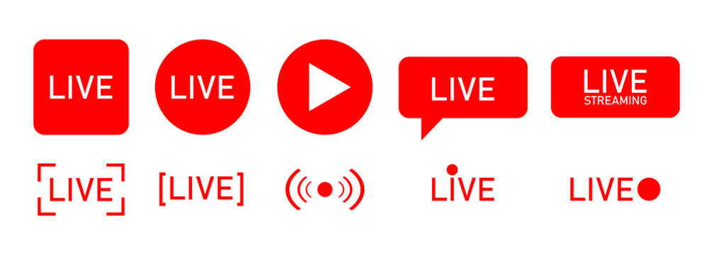 Set of live streaming icons. Red symbols and buttons of live streaming, broadcasting, online stream.  template for tv, shows, movies and live performances. Vector