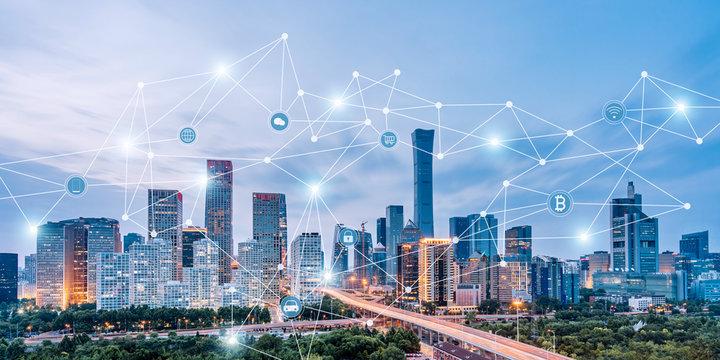 Beijing, China CBD skyline and urban interconnected big data concept