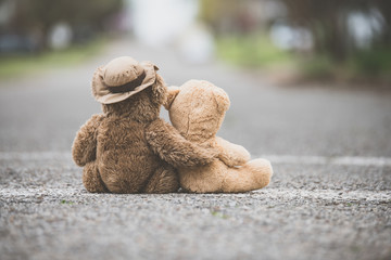 One teddy bear with his/her arm wrapped around a smaller teddy bear showing compassion on a road