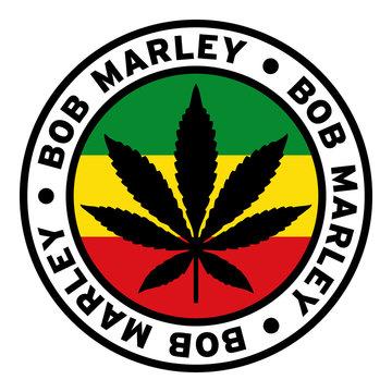 Round Bob Marley Rasta Marijuana Flag Clipart