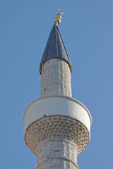 Gjirokaster Bazaar mosque minaret top in Albania