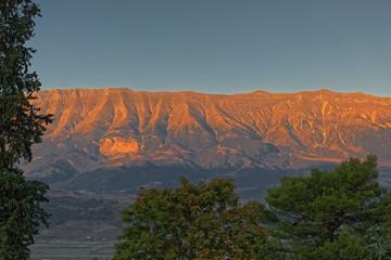 Gjere mountain in sunset view from Gjirokaster Albania