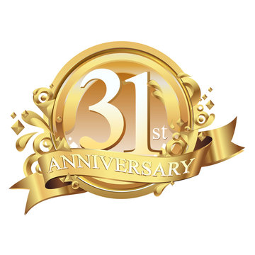 31 years golden anniversary logo celebration with ring and ribbon.