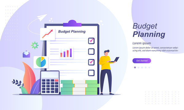 Budget planning concept, financial analyst at checklist on paper, new plan financial graph data, financial report balance sheet statement, can use for web landing page, ui, mobile app, other template