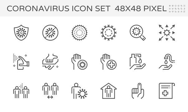 Coronavirus disease and prevention vector icon set design, 48x48 pixel perfect and editable stroke.