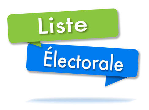Electoral list in colored speech bubbles and french language