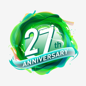 27 years Anniversary logo with colorful abstract background, vector design template elements for invitation card and poster your birthday celebration.