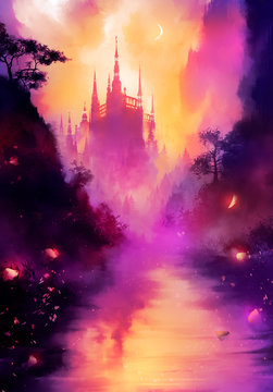 A beautiful fairytale landscape in pink shades, with a river in the foreground, and a huge tall castle in the distance, with many towers, it is shrouded in fog, we see a crescent moon in the sky. 2d