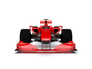 Fototapeten F1 Formula 1 (f1) red gloss racing car on a white background viewed from the front
