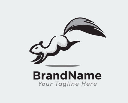 simple drawing art squirrel landing logo design inspiration
