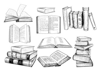 .A collection of  books sketches .Various books in vintage style. Hand-drawn vector design elements. Clipart.