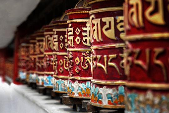 Beautiful Tibetan prayer wheels