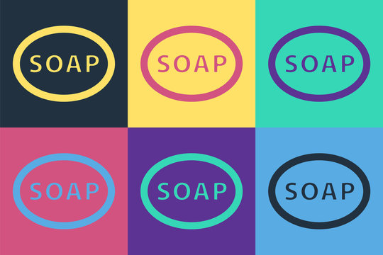 Pop art Bar of soap icon isolated on color background. Soap bar with bubbles. Vector Illustration