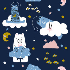 Hand drawn vector cute cartoon pastel color seamless pattern illustration with sleeping bear on the cloud for baby textile, cloth or linen texture, apparel, clothes or decoration