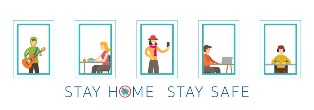 People Activity on Their Windows, Stay Home Stay Safe, Social Distancing Concept, Covid-19,  Coronavirus