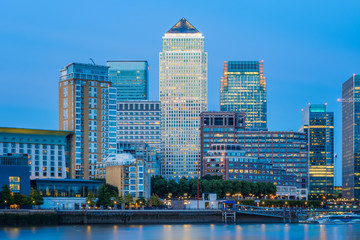 Illuminated cityscape Canary Wharf in London