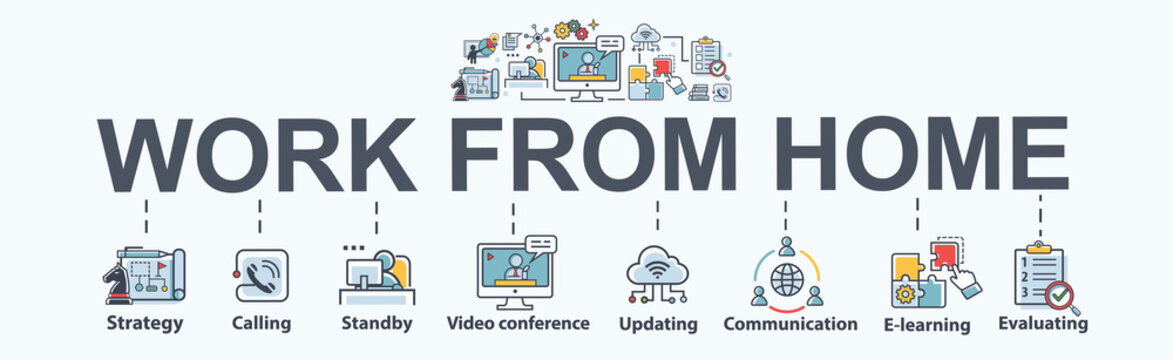 Work from home banner web icon for business conference and freelancer, planning, meeting, strategy, remote, video call, communication and collaboration. Minimal work at home vector infographic.