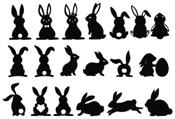 Set of silhouettes of rabbits. Collection of rabbits in various poses. Easter bunny. Vector illustration on a white background. Papier Peint