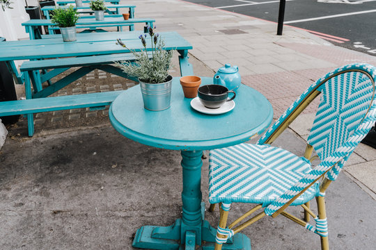 Empty coffee and restaurant terrace with tables and chairs london