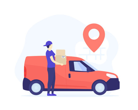 delivery boy holding boxes near mini van