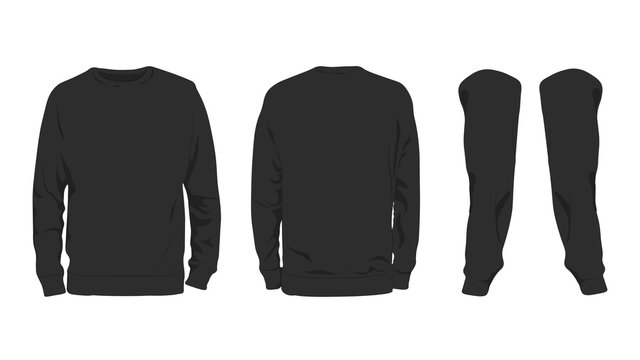 Men's black sweatshirt template,from two sides and arms,isolated on white background. [BLANK.SUITABLE FOR MOCK UP]