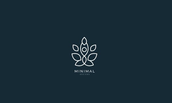 A line art icon logo of a YOGA person with leaves