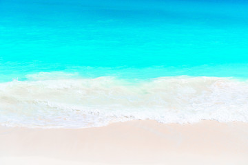 Wall Murals Green coral Idyllic tropical beach in Caribbean with white sand, turquoise ocean water