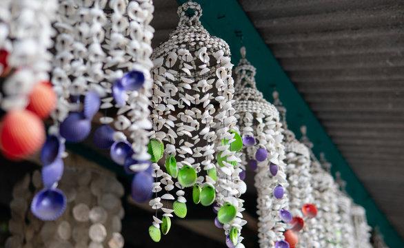 .music of the wind from seashells. Handmade seashell garland