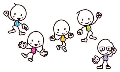 棒人間のイラスト/楽しそうにジャンプ