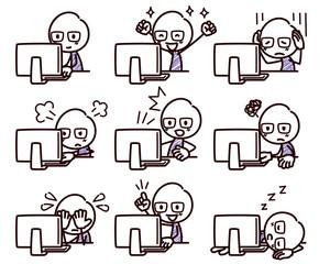 棒人間のイラスト/パソコンと表情