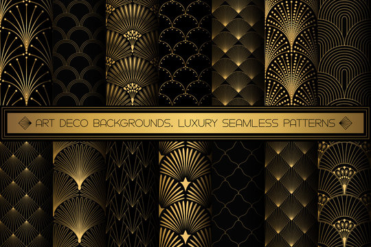 Art Deco Patterns. Seamless black and gold backgrounds