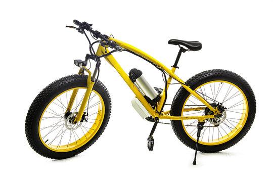 Yellow electric bike on white background.Sport bike
