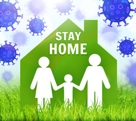 Stay safe, stay inside home. Save planet from COVID-19 coronavirus. Quarantine precaution to stay safe. Vector illustration