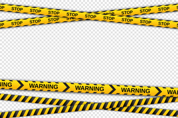 Warning yellow and black tapes on transparent background. Safety fencing ribbons. Vector illustration