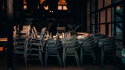 Empty restaurant terrace during the corona threat Fotomurales