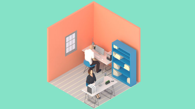 Home office workplace mess concept with laptop mockup and other objects  . 3D Rendering.Work from home concept. set of isometric interior working rooms of the house.