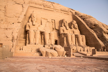 Ancient Egyptian temple built by Ramses II, carved in the stone of the mountain, in Abu Simbel next to Lake Nasser in Nubia, Egypt, Africa