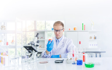 Scientist working or research for some confidential in chemical laboratory