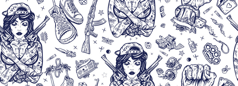 Criminal street culture seamless pattern. Old school tattoo. Swag. Hip-hop lifestyle. Crime favela. Bad girl and crossed guns, handcuffs, audio cassette. Cool gangster tattooed woman in baseball cap