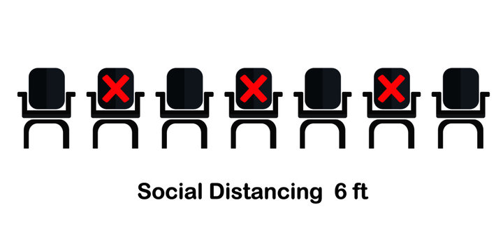 Social distancing chair concept.Prevent contact from the virus Covid-19.
