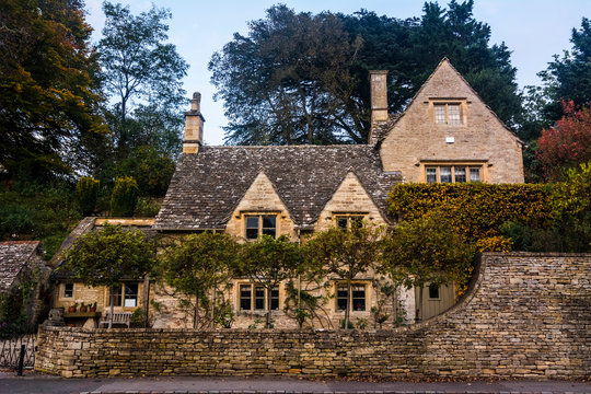 Bibury, Cotswolds, United Kingdom, 11 October 2019. Traditional Cotswold stone cottage at Arlington Row in Gloucestershire.