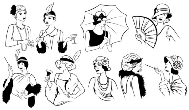 Set of women in art deco style. Collection of trends of female retro fashion of the twenties. Vector illustration of beautiful women in retro style.