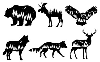 Set of stylized nature animals. Collection of animal silhouettes with a forest. Logos of wild animals. Tattoo. Vector illustration for children. Papier Peint