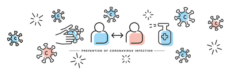 Prevention of Corona virus Covid 19 infection handwritten line design info graphic white isolated background banner